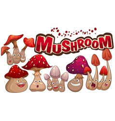 Fresh mushroom with facial expressions vector image