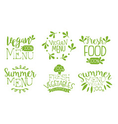 fresh vegan menu labels set fresh vegetables vector image