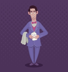 Funny Waiter in a suit and a bow-tie with a menu vector image