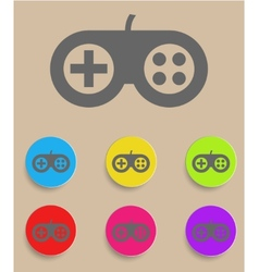 Game controller icon with color variations vector image