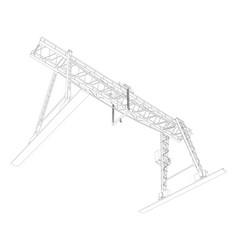 Gantry crane wire-frame vector