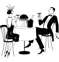 gatsby dining bw vector image