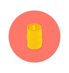 Gold Coins Money Circle Flat Icon vector