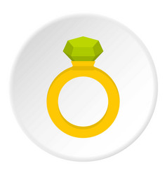 Gold ring with green gem icon circle vector
