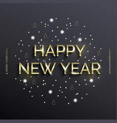 golden text on gray background happy new year vector image