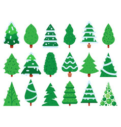 green christmas tree simple xmas trees shape vector image