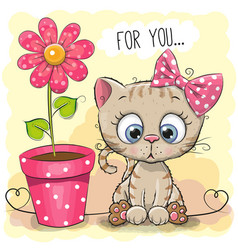 Greeting card cat with flower vector
