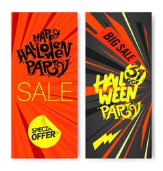 halloween sale banners set vector image