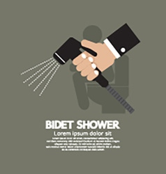 Hand Using A Bidet Shower vector image