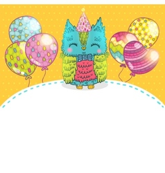 Happy Birthday greeting background with an owl vector image
