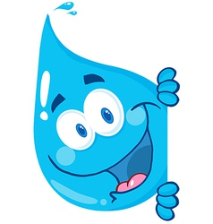 Happy Water Drop Looking Around A Sign vector image
