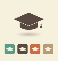 Hat graduate flat icon vector