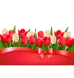 Holiday background with bouquet of red and white vector image