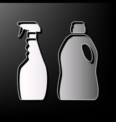 Household chemical bottles sign gray 3d vector