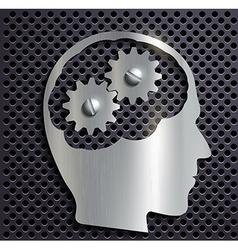 Human head with gears inside vector