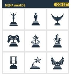 Icons set premium quality of media awards champion vector