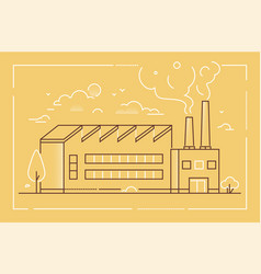 Industrial building - modern line design style vector