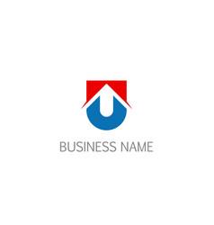 Initial u shield company logo vector