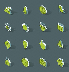 isometric flat design icon set vector image