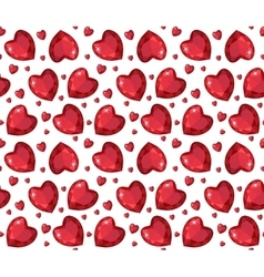 Jewelry ruby red heart seamless pattern Brilliant vector image
