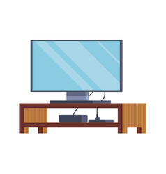 Large plasma tv stands on a wooden stand computer vector