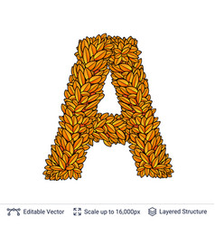 Letter a sign of autumn leaves vector