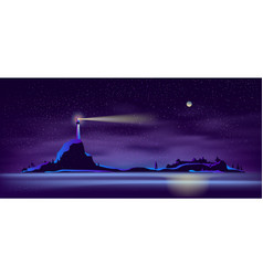 lighthouse at night in ultraviolet colors vector image