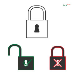 lock icon isolated on background modern flat pict vector image