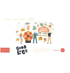 Luck and fortune landing page template characters vector