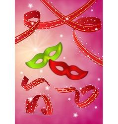 Masquerades mask and ribbons vector