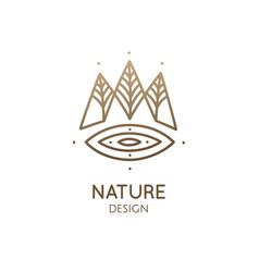 Nature linear logo forest landscape vector