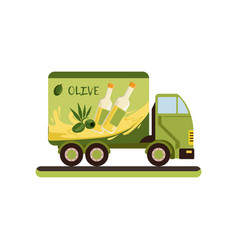 Olive oil delivery service truck vector