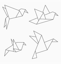 origami bird collection vector image