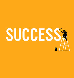 Painter painting the word success on a wall by vector