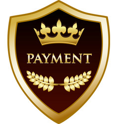 payment gold shield vector image