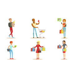 people carrying shopping bags with purchases set vector image