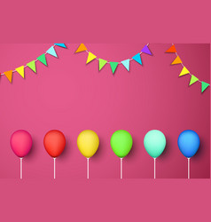 pink festive background with colour balloons and vector image