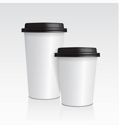 realistic paper coffee cup set of 3d coffee cup vector image
