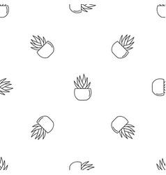 Round pot aloe pattern seamless vector