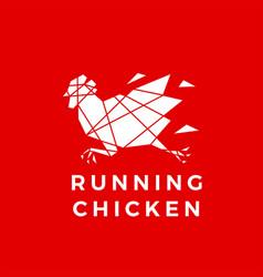 Running chicken rooster geometric polygonal logo vector