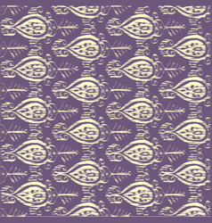 seamless ikat yellow and lilac pattern vector image