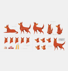 set for creating a dog animation emotions vector image