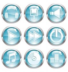 set music gloss button vector image