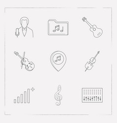 set of audio icons line style symbols with treble vector image