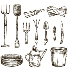 Set of gardening tools drawings vector image