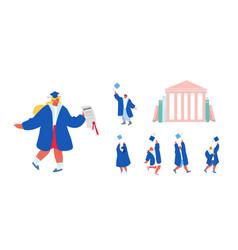 set students male female characters alumnus vector image