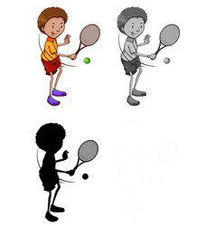 set tennis player character vector image