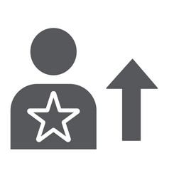 skill glyph icon employee and rating person sign vector image