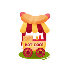 small carnival cart with hot dogs vending trolley vector image