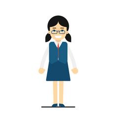 Smiling schoolgirl in blue uniform vector